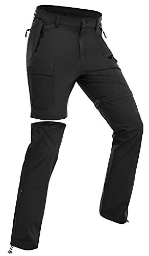 Wespornow Pantalones de senderismo para mujer, convertibles, con cremallera, para camping, viajes, Negro, M