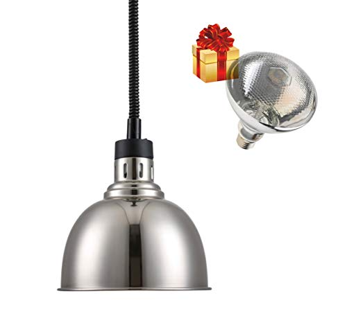 Commercial Food Heat Lamp 300W 60-180cm Length Food Warmer Lamp 250mm Food Heat Hanging Lamp Warmer with Lamp for Restaurant Home Cafeteria Use (SILVER) With One Extra Bulb