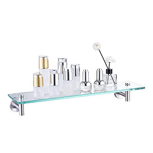 Amazon Brand - Umi Estante de Vidrio de 20 Pulgadas para Almacenamiento de baño con Vidrio Templado de 8 mm de Grosor y Soporte de Pared de Metal Inoxidable y níquel Cepillado, A2021-2