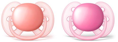 Philips Avent SCF213/22 - Pack de dos chupetes ultra suaves y flexibles, lisos niña, 6-18 meses, color rosa durazno/rosa claro
