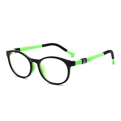 Fantia Kids Safety Flex Optical Round Eye Glasses Non-prescription glasses (black and green)
