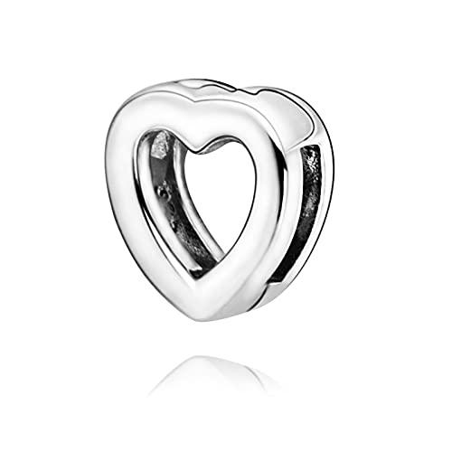 LIIHVYI Pandora Charms para Mujeres Cuentas Plata De Ley 925 Clip De Corazón De San Valentín Joyería De Bricolaje Compatible con Pulseras Europeos Collars