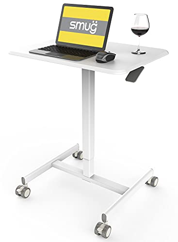 Mobile Laptop Desk Sit-Stand Desk Adjustable Height Laptop Desk Cart Ergonomic Table Small Standing Desk with Pneumatic Height Adjustments (White)