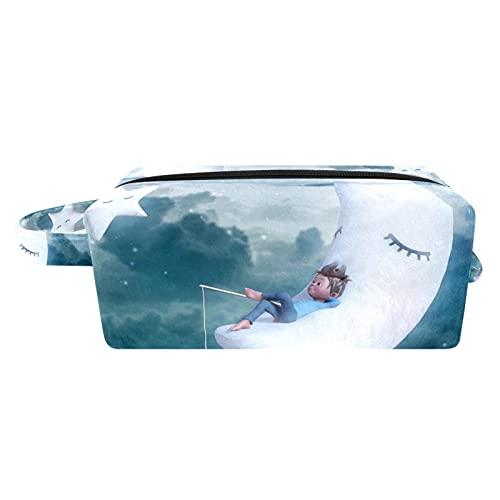 Bolsas de Aseo Durable Neceser Avion Unisexo Neceseres de Viaje Bolsa de Cosmético Neceser Paño de Oxford Organizador de Viaje Pesca Juvenil Luna 21x8x9 cm