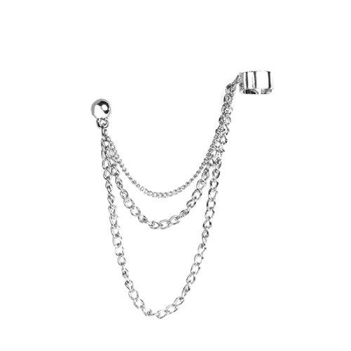 BodyJ4You Cuff Earrings Stainless Steel Earrings, Ear Cuffs Dangle Chain, 1 Piece of Cartilage Earrings