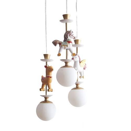 HGDH Iluminación Moderna Araña de 3 LED de niños, la lámpara del Techo del carrusel Protección de los Ojos de Dibujos Animados
