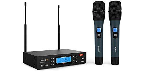Audibax - Sidney U310 - Micrófono Inalámbrico Profesional UHF Doble - Set de 2 Micrófonos de Mano - Frecuencia Seleccionable - Rango de Cobertura 50-100 metros - Pickup Unidireccional - Pilas Tipo AA