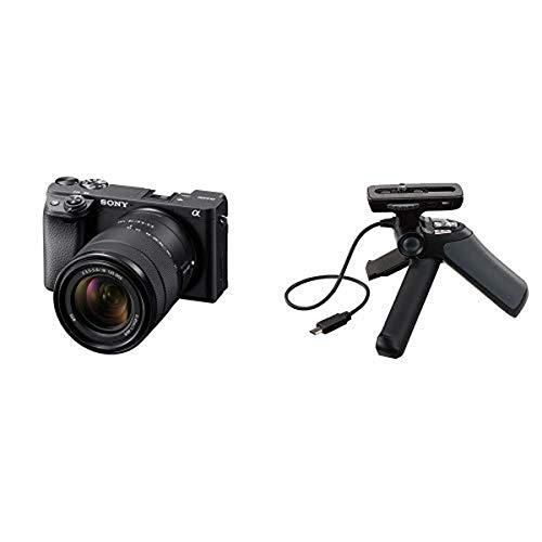 Sony Alpha a6400 Mirrorless Camera: ILCE-6400M/B and Grip and Tripod for Camcorders