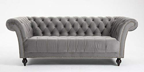 DProT Handmade Chesterfield Sofa Armchair 1.5, 2 or 3 Seater Settee Love Seat Velvet (3 Seater Sofa Grey)