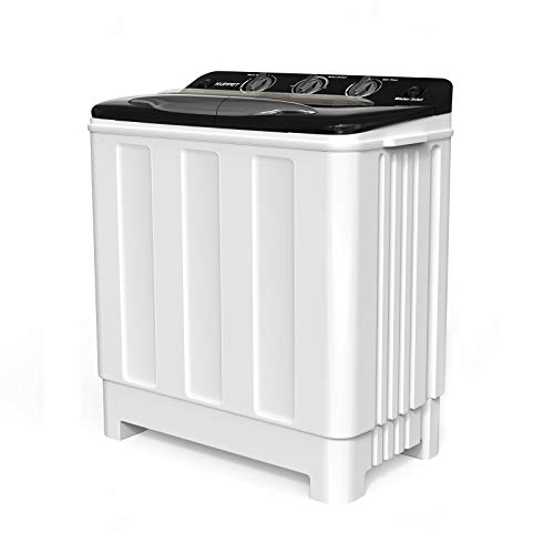 Compact Twin Tub Portable Mini Washing Machine 24lbs Capacity, Washer(16.5lbs)&Spiner(7.5lbs)/Built-in Drain Pump/Semi-Automatic (White&Black)