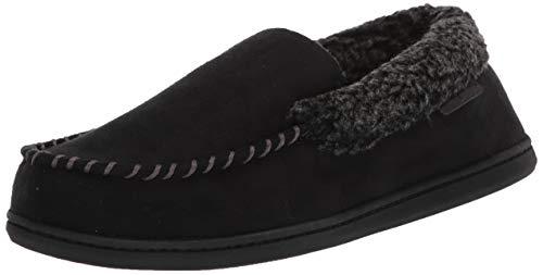 Dearfoams Men's Eli Microsuede Moccasin Slipper, Black, Medium