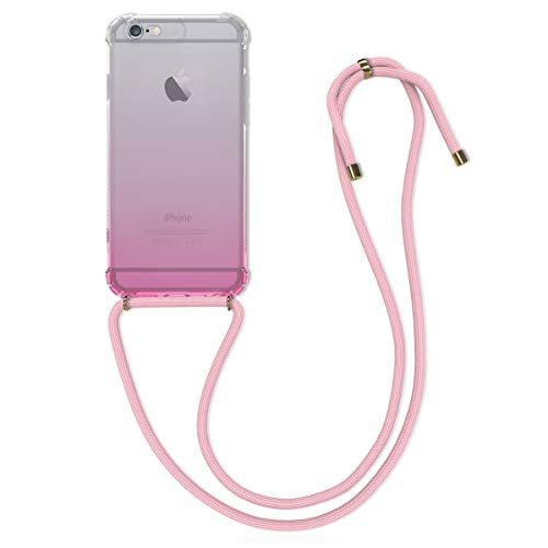 kwmobile Hülle kompatibel mit Apple iPhone 6 / 6S - mit Kordel zum Umhängen - Silikon Handy Schutzhülle Zwei Farben Pink Transparent