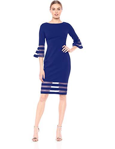 Calvin Klein Women's Bell Sleeve Sheath with Sheer Inserts Dress, Ultramarine, 10