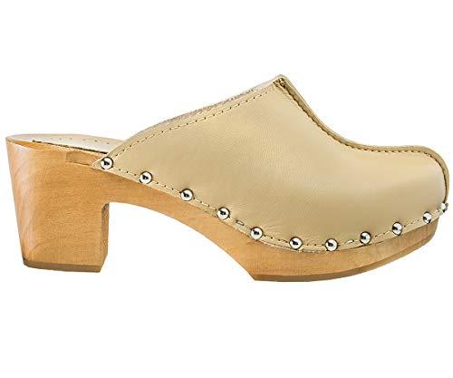 ESTRO Zuecos De Madera para Mujer Calzado Sanitario De Trabajo CDL03 (Beige, 39)