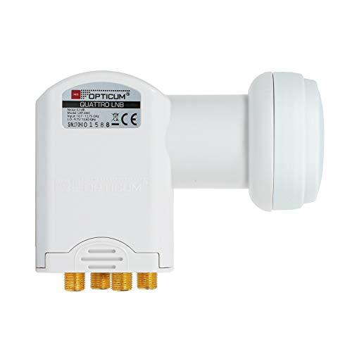 RED OPTICUM LRP 04H Quattro LNB I LNB digitale a 4 vie con figura di rumore di 0,1 dB e Cappuccio di protezione dalle intemperie I Full HD - 3D - UHD - 4K Ready I può essere utilizzato solo