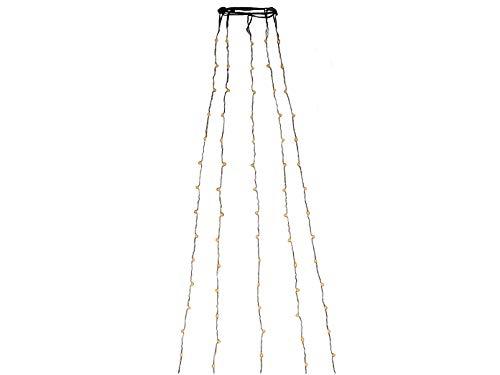 LED Lichterkette Baummantel 180 bernsteinfarbene Dioden an 5 Strängen, 14V Innentrafo und 6h Timer, silberfarbenes Kabel