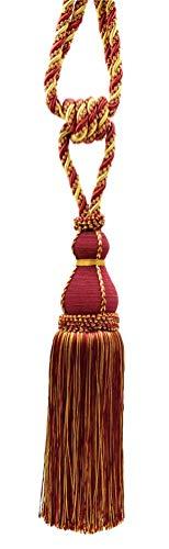Elegant Wine (deep red), Gold Curtain & Drapery Tassel Tieback / 28cm tassel, 76cm / Spread (embrace) Style/ Style# TBH15 - Carmine Gold 1253
