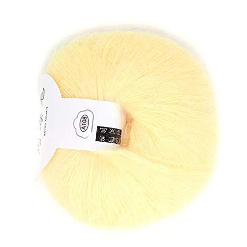 Popular Multi Color Angora Long Wool Yarn Soft Mohair Pashm Knitting Thread for Weave Scarves Weaving(Light Yellow)