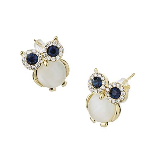 ZunYing Stud Pierced Earrings Earcuffs,Bling Glitter Colorful Aesthetic Girl Women Clear Novelty Trendy Edgy Crystal Hoops Knot Tragus Earrings-Owl