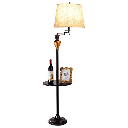 QTDH draaibare led-vloerlamp met planken, sofa, bijzettafel, staand dimbare leeslamp, voor studie, slaapkamer, woonkamer, kantoor
