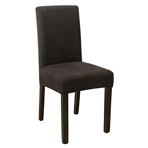 NLCYYQ Fundas elásticas para sillas de comedor, de forro polar, fundas de silla de respaldo alto, fundas protectoras para sillas gruesas para banquetes de boda (negro, 2 unidades)