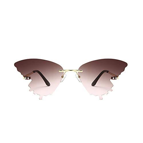 Xniral Unisex Sonnenbrille Sommer Schmetterlingsform Farbverlauf Brille(D)