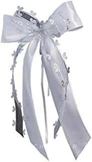 10 x Antennenschleife Autoschleife Autoschmuck Hochzeit SCH0099 weiß silber