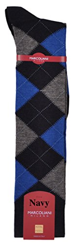 MarcolianiMen's Italian Cashmere and Silk Over-the-Calf Fancy Argyle Socks RARE - One Pair Navy