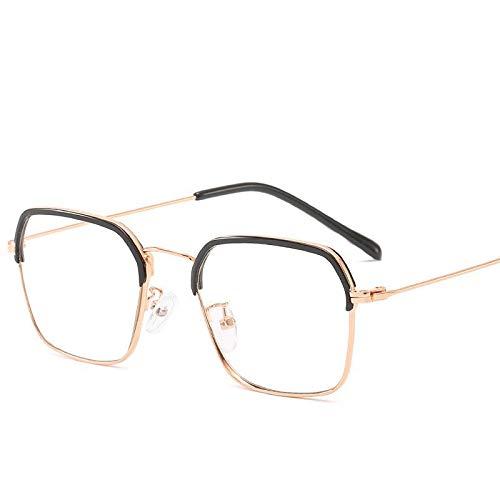 Gafas Protección UV Retro Espejo Plano Cuadrado Gafas De Montura De Ceja Anti-azul Gafas De Joker De Negocios Gafas de sol (Color : D)