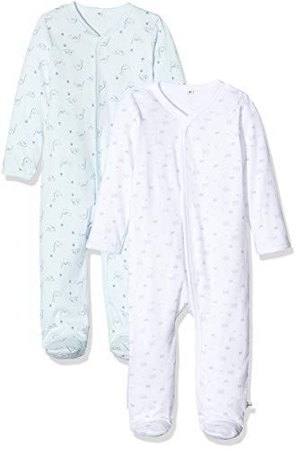 Pippi Unisex Baby 2er Pack Schlafanzug mit Aufdruck, Langarm mit Füßen Schlafstrampler, Blau (Light Blue 701), (Herstellergröße:50)