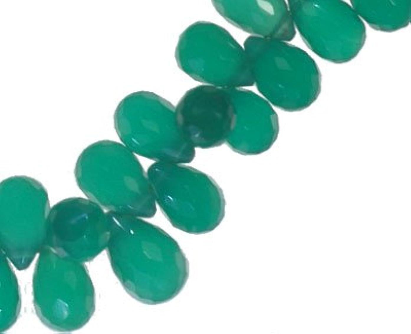 Green Onyx Drop Briolettes Micro Facet ~7mm (Qty=12)