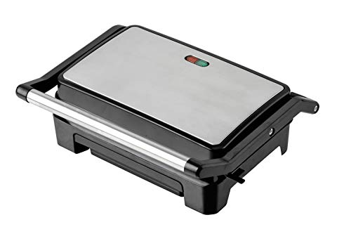 LIVIA Sandwichmaker Kontaktgrill für Toast und Panini mit Anzeigelampen und Cool Touch Griffe (800 W, Kompakt mit Slim-Design), metallic Grau/Schwarz