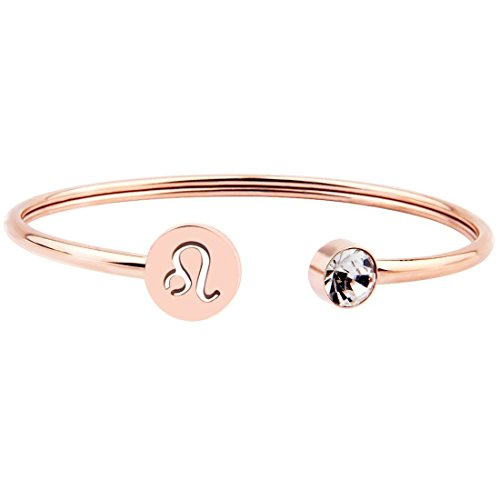 Ensianth Simple Rose Gold Zodiac Sign Cuff Bracelet with Birthstone Birthday Gift for Women Girls (Leo)