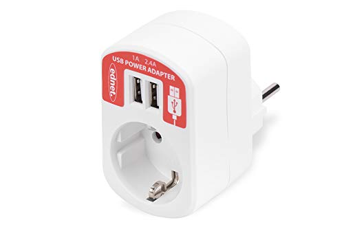 ednet 31804 Universal USB-Lade-Adaper, Ladegerät, 2-Port + Schukosteckdosen-Durchleitung, je 5V/2.1A und 5V/1A, Weiß