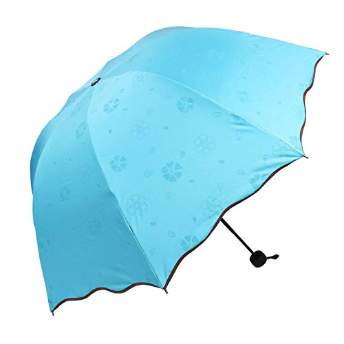 Creatieve dame prinses magische bloemen koepel parasol zon/regen vouwen paraplu Prain vrouwen zon parapluie messing knokkels C