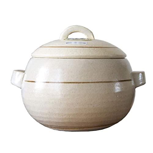 Olla de cerámica Cazuela, Cazuela Antiadherente con Mango Lateral Revestido para guisar Gas Olla de Piedra Compatible con inducción eléctrica con Tapa Olla de Barro