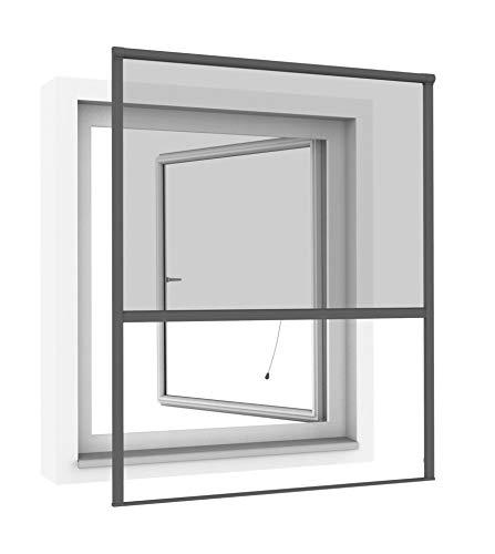 Windhager Rollofenster zum Einhängen, Insektenschutz-Rollo, Fensterrollo als Mückenschutz, Fliegengitter, individuell anpassbar, 100 x 160cm, anthrazit, 03294