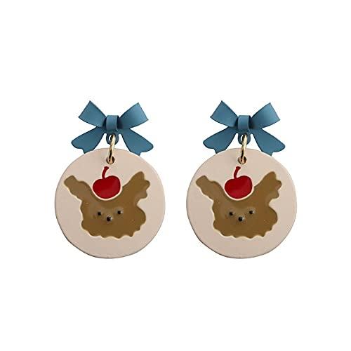 zhengyang Pendientes de personalidad con lazo azul lindo de dibujos animados de oso para las mujeres de verano tendencia chica oreja Stud Student citas joyas amigas regalo personalidad pendientes
