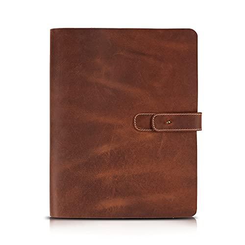 Londo - Funda de Cuero Genuino para Tableta con Dos Ranuras para Tarjetas y Soportes para bolígrafos / lápices de Apple (Marrón, 11 Inch)