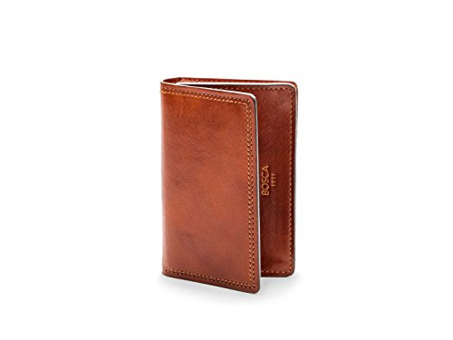 Bosca Mens Dolce Collection - Full Gusset Two-Pocket Card Case w/I.D. (Amber)