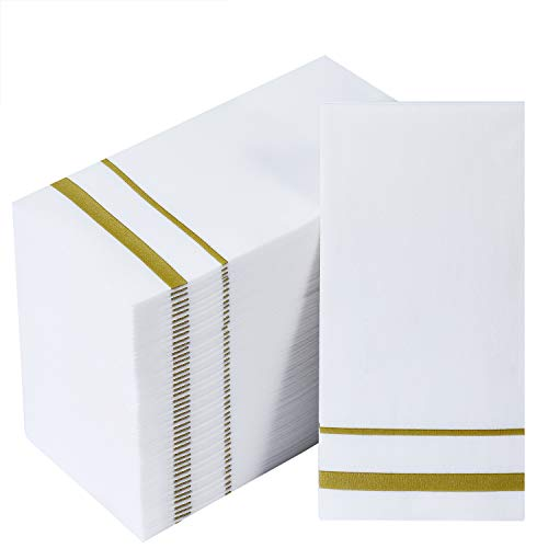 200 Pack Disposable Guest Towels LinenFeel Paper Hand Towels Decorative Bathroom Hand Napkins for Kitchen Parties Weddings Dinners or Events White and Gold