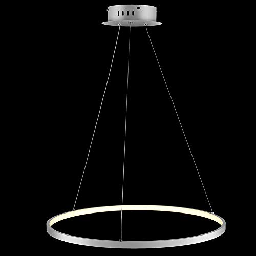 Lámpara colgante circular de 1 luz lámpara de araña de acrílico de metal LED Lámpara colgante ajustable suspendida moderna para sala de estar dormitorio cocina blanco + TricolorLight-40c