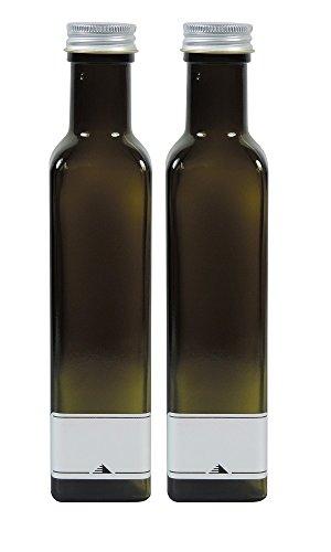 Mikken Aceitera 2 x 250 ml verde y marrón botellas de cristal para rellenar, incluye 2 etiquetas de rotulación