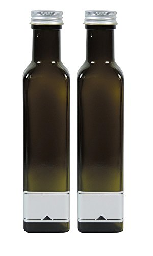Mikken Ölflaschen 2x 250ml grün-braune Glasflasche zum selbst befüllen, inkl. 2 Beschriftungsetiketten