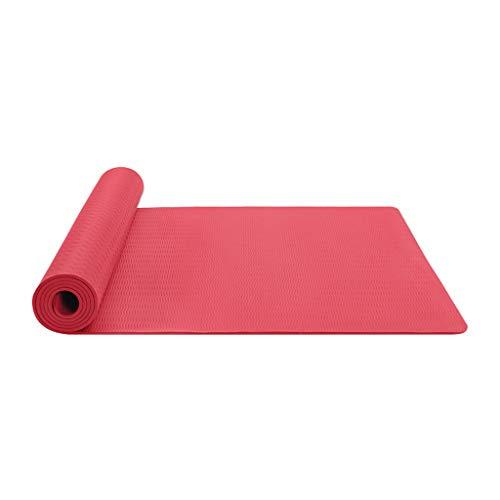 Andouy Komfort-Gymnastikmatte Yogamatte Hautfreundliche Fitnessmatte in 183X61X0,6CM mit Tragegurt Phtalatfrei - Sportmatte für Yoga Pilates und Bodenübung(183X61X0.6CM.Rot)