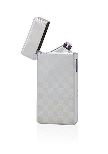 TESLA Lighter T13 Lichtbogen Feuerzeug, Plasma Double-Arc, elektronisch wiederaufladbar, aufladbar mit Strom per USB, ohne Gas und Benzin, mit Ladekabel, in edler Geschenkverpackung, kariert Silber