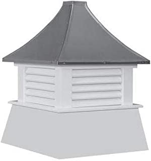 """Cupola 16"""" Vinyl Cupola with Vents Black Metal Pagoda Roof Shed Cupola"""
