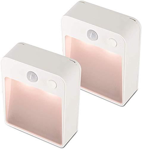 Salón dormitorio lámpara Luces de batería recargable Luces de sensor de movimiento para interiores 2 Paquete Noche Luz de movimiento Sensor de movimiento Interior, Luces de pared, Luces LED para dormi