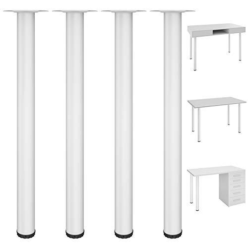 Kullavik 28 Inch Adjustable Desk Legs Durable Table Legs Heavy Duty Metal Furniture Legs for Office Desk, Coffee Table, Kitchen Table (Set of 4)- White