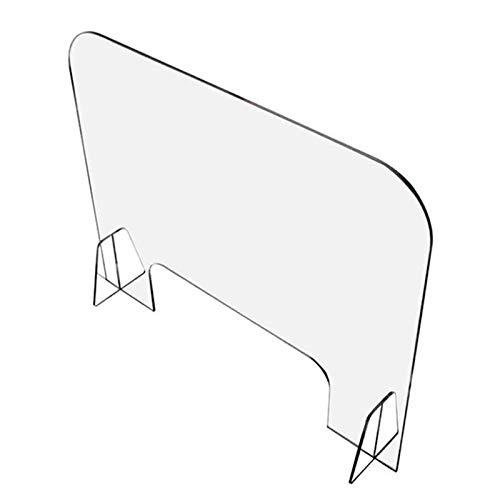 HLILY Barriera Protettiva Divisorio Separatore da Banco,Parafiato Parasputi Scrivania Ufficio in Plexiglass con Apertura - Trasparente 4mm - Pannello di Protezione per Scuole Supermercati